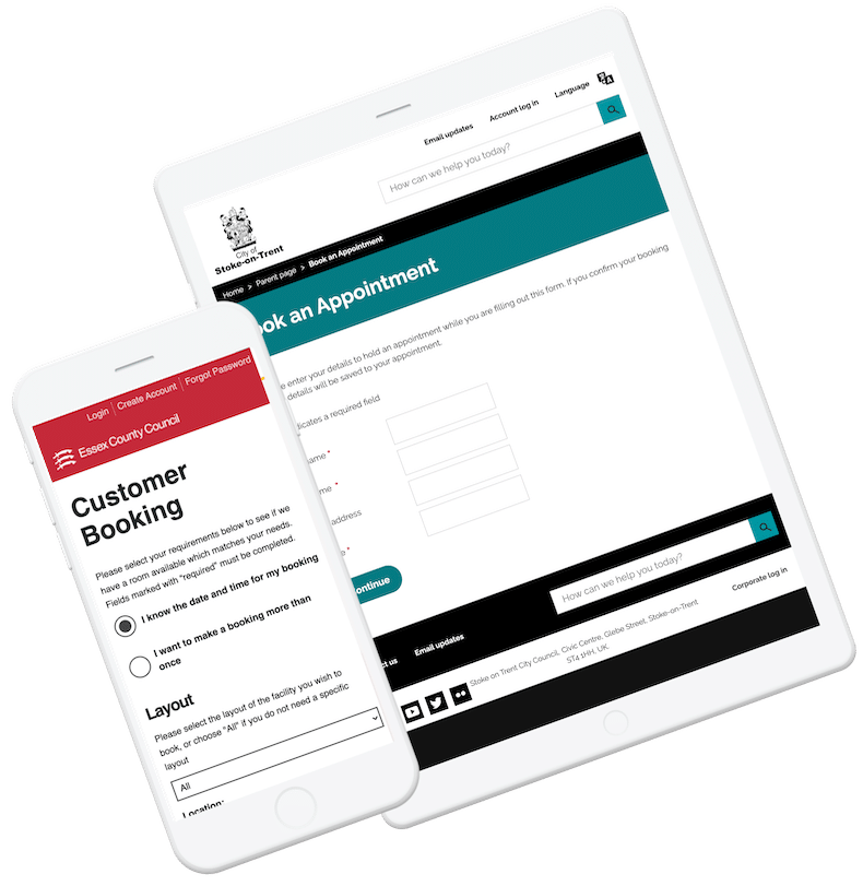 Enterprise Booking examples with Stoke and Essex Councils